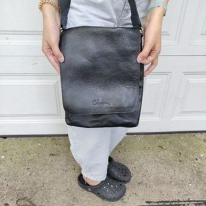 COLE HAAN Genuine Leather Black Unisex Satchel